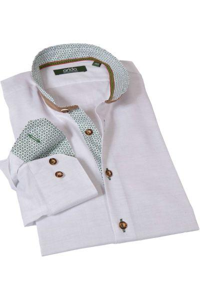 Trachtenhemd in weiß grün mit Velours Stehkragen