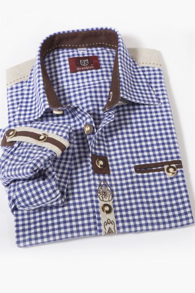Trachtenhemd Landhaus Stil in blau weiß kariert 1