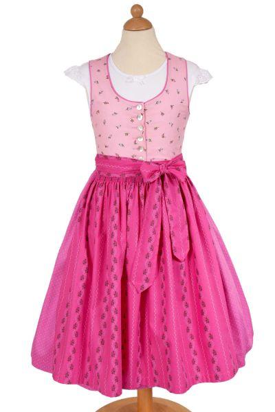 Kinder Waschdirndl Zoe in rosa und pink mit Bluse