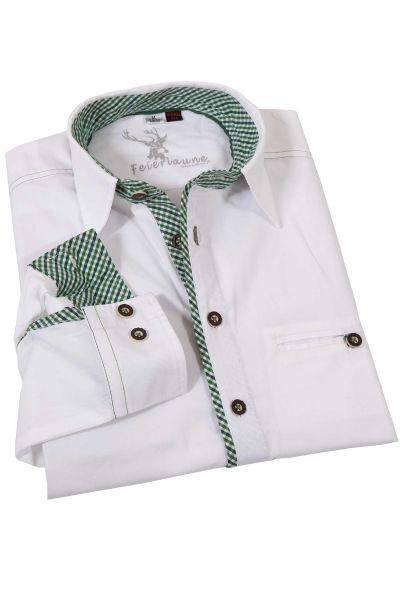 Weißes Trachtenhemd Golo mit grünen Details