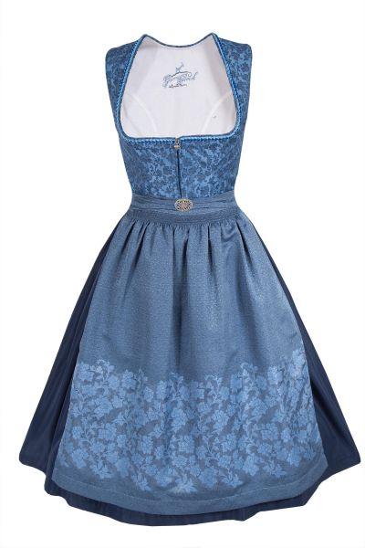 Midi Dirndl Laura in blau mit Samtborte