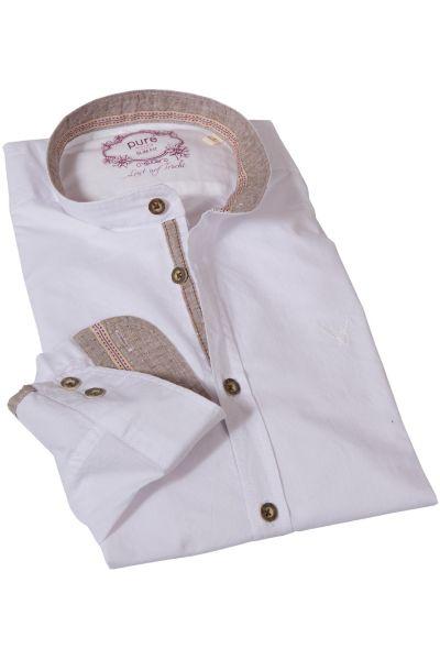 Trachtenhemd in weiß & natur mit Stehkragen von pure