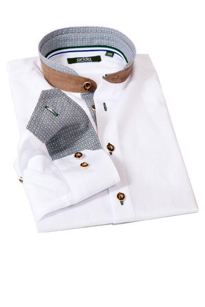 Trachtenhemd in weiß tanne mit Velours Stehkragen