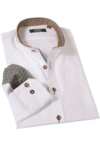 Trachtenhemd in weiß mit Velourbesatz