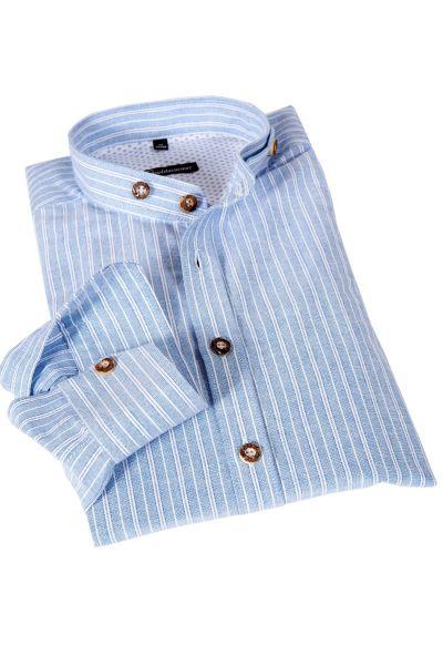 Trachtenhemd in hellblau mit weißen Streifen
