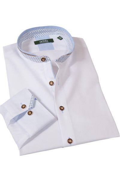 Trachtenhemd von arido in weiß aus Strukturstoff