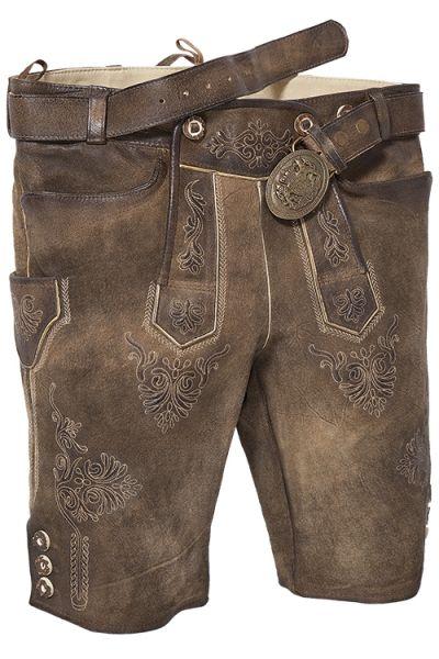 Plattler Ammersee kurze Lederhose antik used vorn
