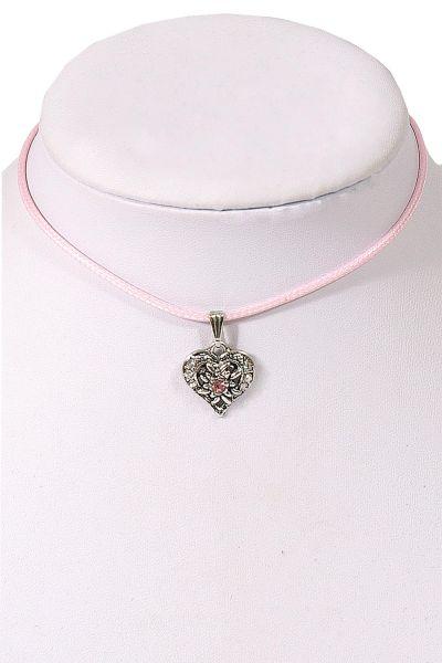 Kinder Trachtenkette in rosa mit silbernem Herz Büste