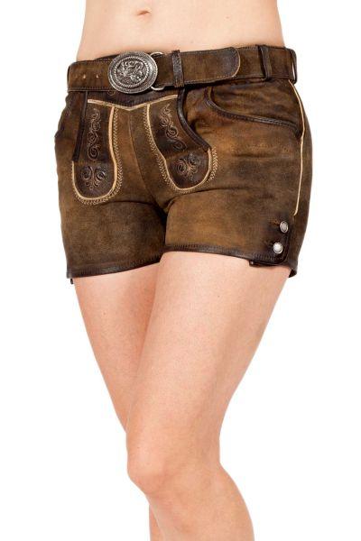 Lederhose kurz für Damen mit Träger in braun