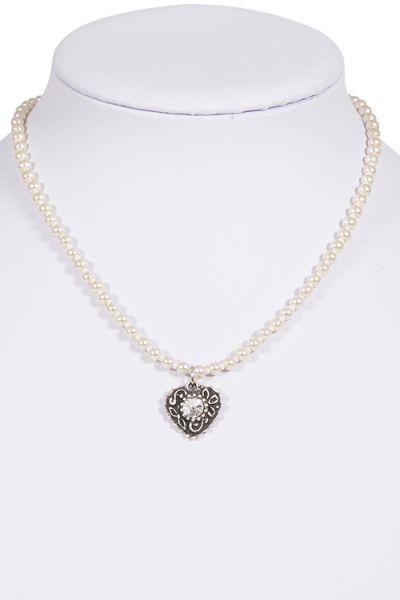 Trachtenkette Perlen in creme weiß mit Herz Anhänger silber