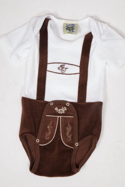 Babybody Body für Babies in weiß braun  1Babybody Body für Babies in weiß braun  2