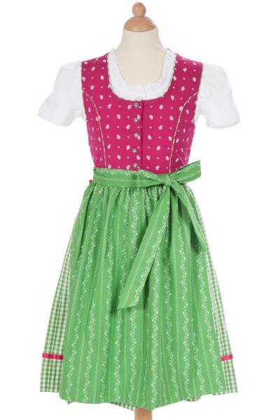 Kinderdirndl Mädchendirndl fuchsia grün Knöpfe