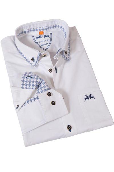Trachtenhemd in weiß mit Details in blau