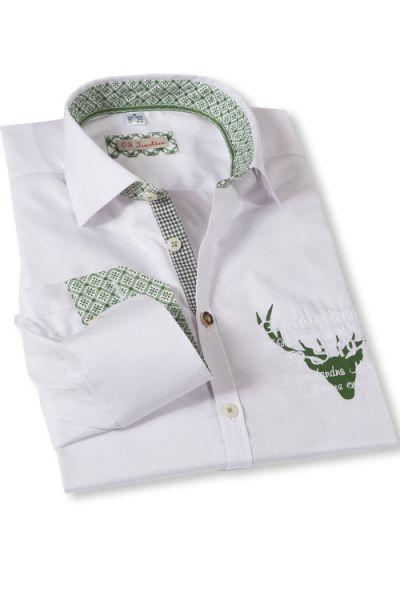 Cooles Trachten Hemd in weiß mit Hirsch und Gipfelstürmer Stick