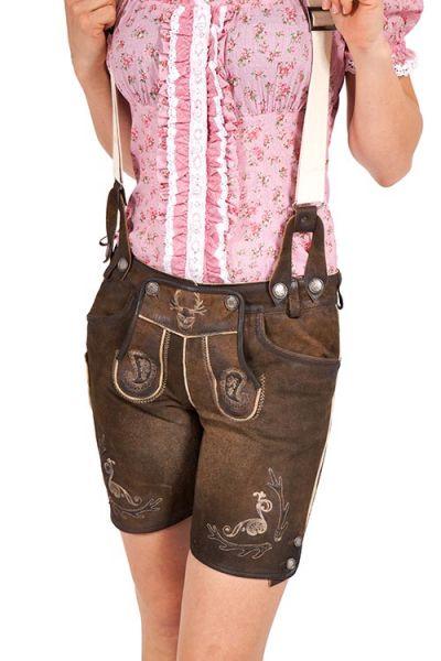 Kurze Lederhose Sannerl für Damen in nuss mit Träger