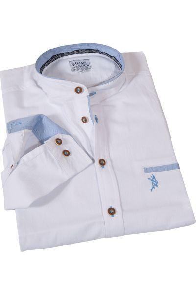 Trachtenhemd mit Stehkragen mit hellblauen Details