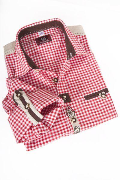 Trachtenhemd im Landhaus Stil in rot weiß kariert mit Applikationen