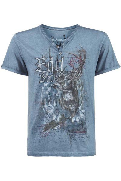 Herren Trachten T-Shirt Edelbock in blau