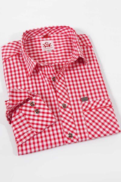 Elegantes Karo Trachtenhemd in rot weiß