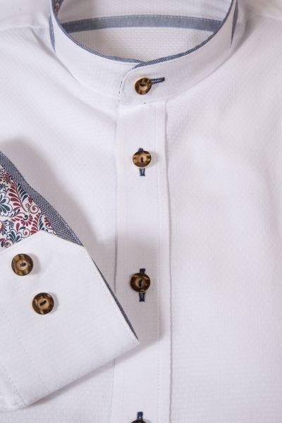 Trachtenhemd in weiß mit blau besetztem Stehkragen