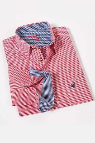Herren Trachtenhemd langarm Vichykaro bordeaux weiß