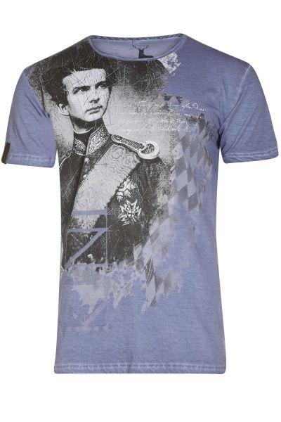 Trachten Shirt Wiggerl in blau mit Bayern König