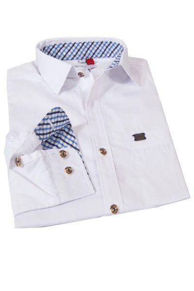Herren Trachtenhemd Kessen in weiß mit blau