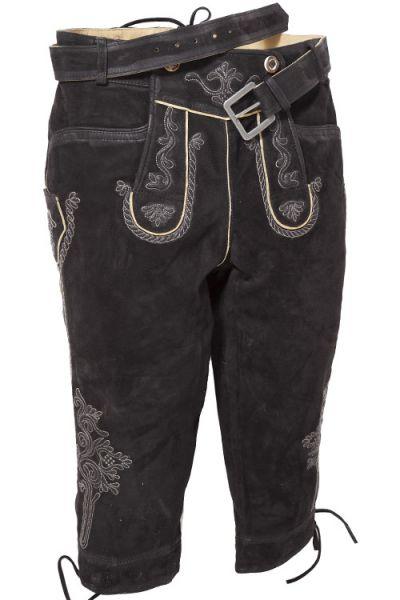 Lederhose knielang in schwarz mit Stickereien und Gürtel