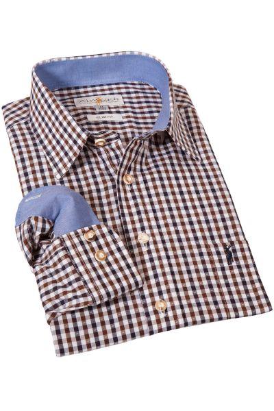 Trachtenhemd kariert in braun und schwarz