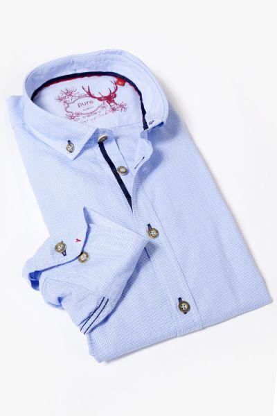Trachtenhemd von pure in hellblau weiß mit Hornknöpfen