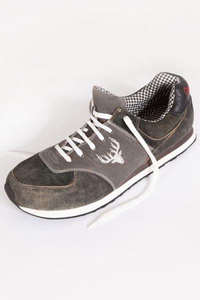 Trachten Sneaker von Lekra in Lava grau mit Leder und Hirschstickerei