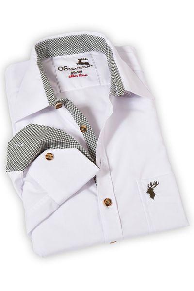 Herrenhemd zur Tracht in weiß mit grünen Karos