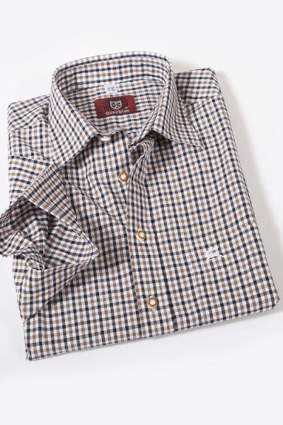 Trachtenhemd kurzarm kariert braun schwarz weiß  1