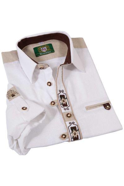 Landhaus Trachtenhemd weiß aus Leinen mit braun