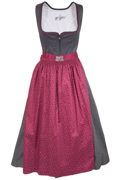 Dirndl lang Lena in anthrazit und bordeaux