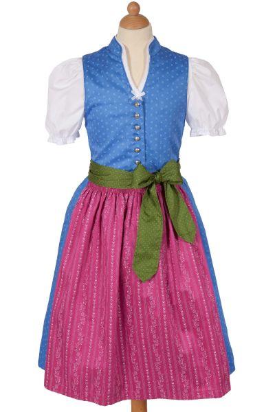 Kinderdirndl Fabiola aus Baumwolle in blau und pink