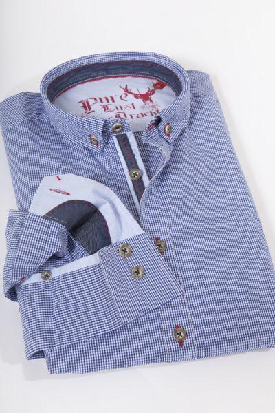Trachtenhemd von Pure in blau kariert mit Stretchanteil