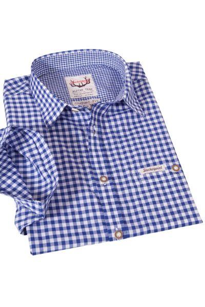 Trachtenhemd Renko Kurzarm in blau weiß von Stockerpoint