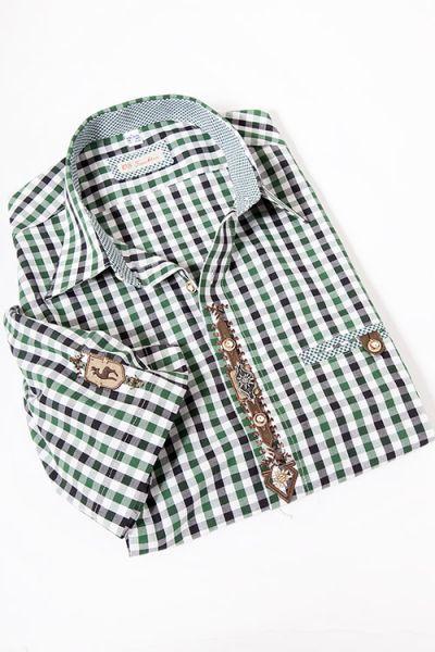 Trachtenhemd im Landhaus Stil mit Karos in grün weiß und Hornknöpfen