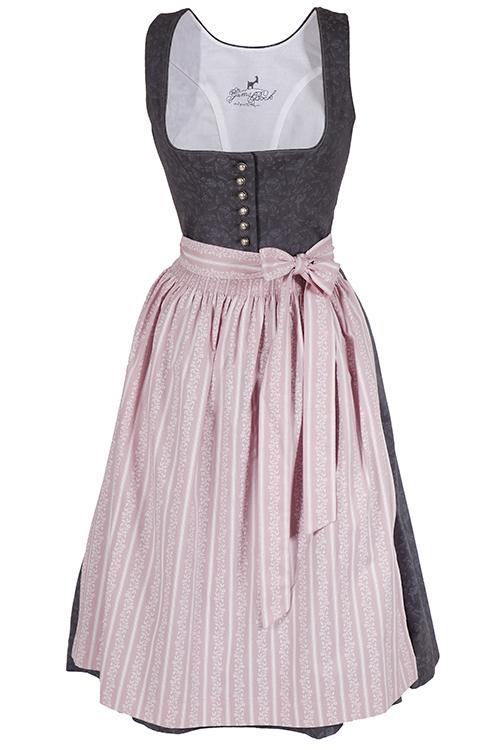 midi dirndl flora aus baumwolle in grau und rosa wirkes. Black Bedroom Furniture Sets. Home Design Ideas