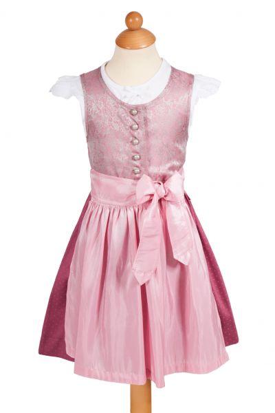 Babydirndl Anita in rosa und silber mit Bluse
