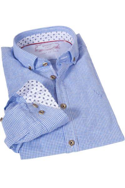 Trachtenhemd hellblau kariert mit Leinen