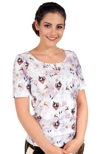 Trachten Shirt mit Edelweiss in hellgrau