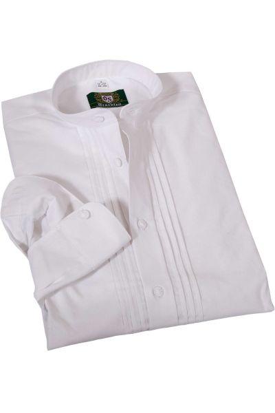 Trachtenhemd als Schlupfhemd in weiß mit Stickerei