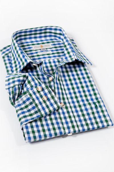 Trachtenhemd kariert in blau und grün