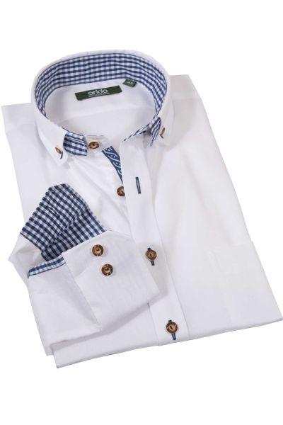 Trachtenhemd edel weiß mit blau von arido