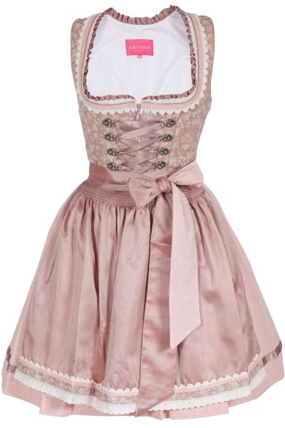 Mini Dirndl im Vintage Design rosa / altrosa