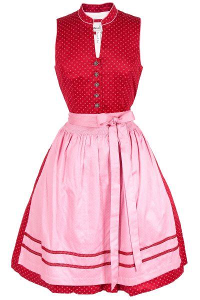 Mini Dirndl Dorita in rot und rosa hochgeschlossen