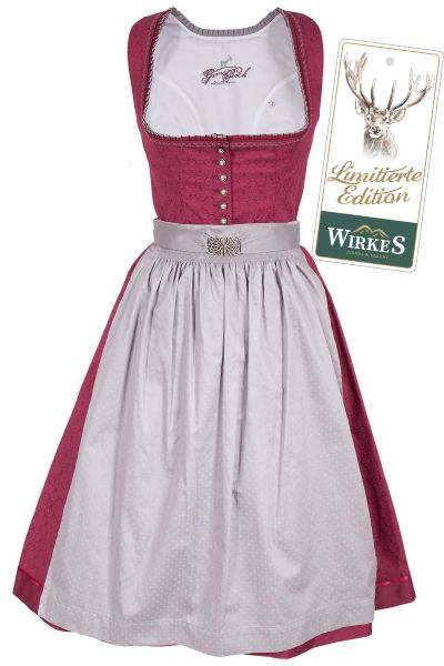 Midi Dirndl Kathi in bordeaux als Baumwolldirndl Limited Edition