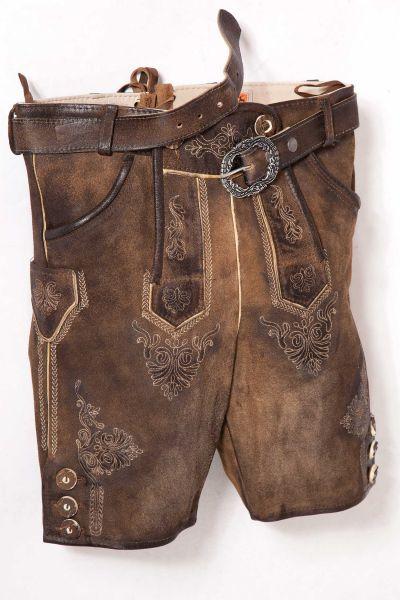 Kurze Lederhose für Kinder in braun antik